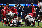 Jaco Peype (ref) going upstairs for the TMO for England's Back Row Billy Vunipola try during the Rugby World Cup Pool A match between England and Fiji at Twickenham, Richmond, United Kingdom on 18 September 2015. Photo by Matthew Redman.