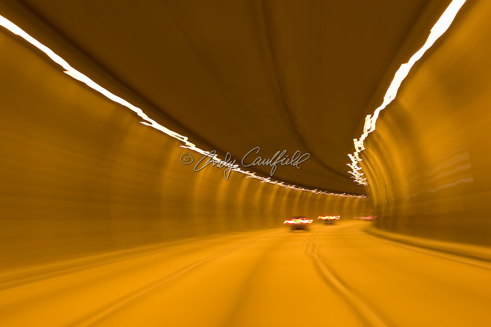 Tunnel on Rodovia dos Imigrantes en route to the beach cities, SP Brazil.