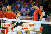 Andy Murray of Great Britain and Leon Smith, team captain of Great Britain chat between games during the 2016 Davis Cup Semi Final at the Emirates Arena, Glasgow, United Kingdom on 18 September 2016. Photo by Craig Doyle.
