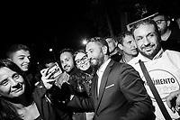 MILAZZO, ITALY - 27 OCTOBER 2017: Five Star Movement (Italian: Movimento 5 Stelle, or M5S) candidate Giancarlo Cancelleri, running for governor of Sicily in the upcoming Sicilan regional election, takes a selfie with his supporters after giving a speech during a rally here in Milazzo, Italy, on October 27th 2017.<br /> <br /> The Sicilian regional election for the renewal of the Sicilian Regional Assembly and the election of the President of Sicily will be held on 5th November 2017.