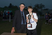 24/05/2017 - Dundee Schools FA Secretary Grenville Dawson presents the Senior Johnston Trophy to grove captain Findlay Baird - Grove (white) v Morgan (blue) in the Senior Johnston Trophy Final at Whitton Park, Picture by David Young -
