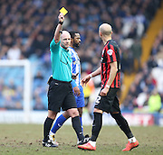 Bruno Saltor, Brighton defender sees yellow during the Sky Bet Championship match between Sheffield Wednesday and Brighton and Hove Albion at Hillsborough, Sheffield, England on 14 February 2015.