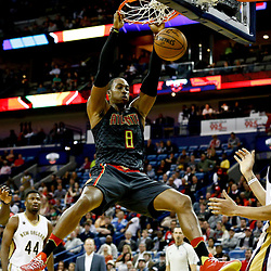 Jan 5, 2017; New Orleans, LA, USA; Atlanta Hawks center Dwight Howard (8) dunks over New Orleans Pelicans forward Anthony Davis (23) during the second half of a game at the Smoothie King Center. The Hawks defeated the Pelicans 99-94. Mandatory Credit: Derick E. Hingle-USA TODAY Sports