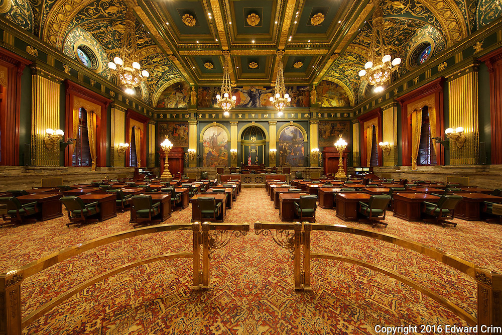 View from the entrance of the  Pennsylvania capitol's Senate chamber in Harrisburg.