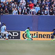 NEW YORK, NEW YORK - April 12: Marco Urena #21 of San Jose Earthquakes scores as he beats goalkeeper Sean Johnson #1 of New York City FC during the New York City FC Vs San Jose Earthquakes regular season MLS game at Yankee Stadium on April 1, 2017 in New York City. (Photo by Tim Clayton/Corbis via Getty Images)