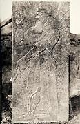 EXCLUSIVE (b/w photo) Winged Genie, unknown source, Khorsabad or Nimrud. Lost at Shatt al-Arab in 1855. Picture by Victor Place...Additional info :..Khorsabad ou Nimroud car le B.M. possède un roi presque semblable: geste, facture, costume mais qui n'a que deux poignards (ici) n'a pas d'ailes et est tête nue avec un bandeau à marguerites en serre tête. Dans les 2 19 à 20 lignes d'inscription coupent le milieu du corps. Epoque d'Assournazirpal (donc Nimroud). A identifier. Provenance inconnue. Khorsabad ou Nimroud (?). 19 lignes d'inscription. Perdu Chatt el Arab 1855. Cliché V. Place.
