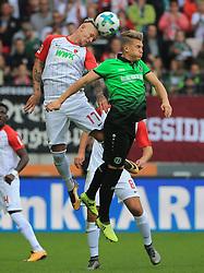 20171021, 1.BL FCA vs Hannover 96, WWK Arena Augsburg, Fussball, Sport, im Bild:...Jonathan Schmid (FC Augsburg) vs Matthias Ostrzolek(Hannover96)..*Copyright by:  Philippe Ruiz..Postbank Muenchen.IBAN: DE91 7001 0080 0622 5428 08..Oberbrunner Strasse 2.81475 MŸnchen, .Tel: 089 745 82 22, .Mobil: 0177 29 39 408..( MAIL:  philippe_ruiz@gmx.de ) ..Homepage: www.sportpressefoto-ruiz.de. (Credit Image: © Philippe Ruiz/Xinhua via ZUMA Wire)