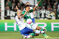 FOOTBALL - FRENCH CHAMPIONSHIP 2011/2012 - L1 - AS SAINT ETIENNE v OLYMPIQUE LYONNAIS - 17/03/2012 - PHOTO EDDY LEMAISTRE / DPPI - CRIS (OL) AND PIERRE EMERICK AUBAMEYANG  (ASSE)