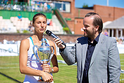 LIVERPOOL, ENGLAND - Sunday, June 24, 2018: Corinna Dentoni (ITA) speaks with Radio City DJ Simon Greening during day four of the Williams BMW Liverpool International Tennis Tournament 2018 at Aigburth Cricket Club. (Pic by Paul Greenwood/Propaganda)