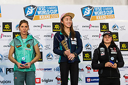 Medal ceremony during final competition of IFSC Climbing World Cup Kranj 2014, on November 16, 2014 in Arena Zlato Polje, Kranj, Slovenia. (Photo By Grega Valancicr / Sportida.com)