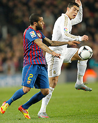 25.01.2012, Stadion Camp Nou, Barcelona, ESP, Copa del Rey, FC Barcelona vs Real Madrid, im Bild Barcelona's Daniel Alves and Real Madrid's Cristiano Ronaldo // during the football match of spanish Copy del Rey, between FC Barcelona and Real Madrid at Camp Nou stadium, Barcelona, Spain on 2012/01/25. EXPA Pictures © 2012, PhotoCredit: EXPA/ Alterphotos/ Cesar Cebolla..***** ATTENTION - OUT OF ESP and SUI *****
