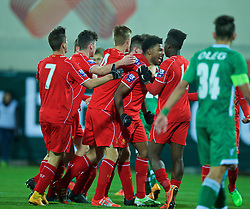 SOFIA, BULGARIA - Wednesday, November 26, 2014: Liverpool's Jerome Sinclair celebrates scoring the second goal against PFC Ludogorets Razgrad during the UEFA Youth League Group B match at the Georgi Asparuhov Stadium. (Pic by David Rawcliffe/Propaganda)