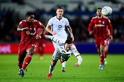 Ivan Cavaleiro of Fulham challenges Connor Roberts of Swansea City - Mandatory by-line: Ryan Hiscott/JMP - 29/11/2019 - FOOTBALL - Liberty Stadium - Swansea, England - Swansea City v Fulham - Sky Bet Championship