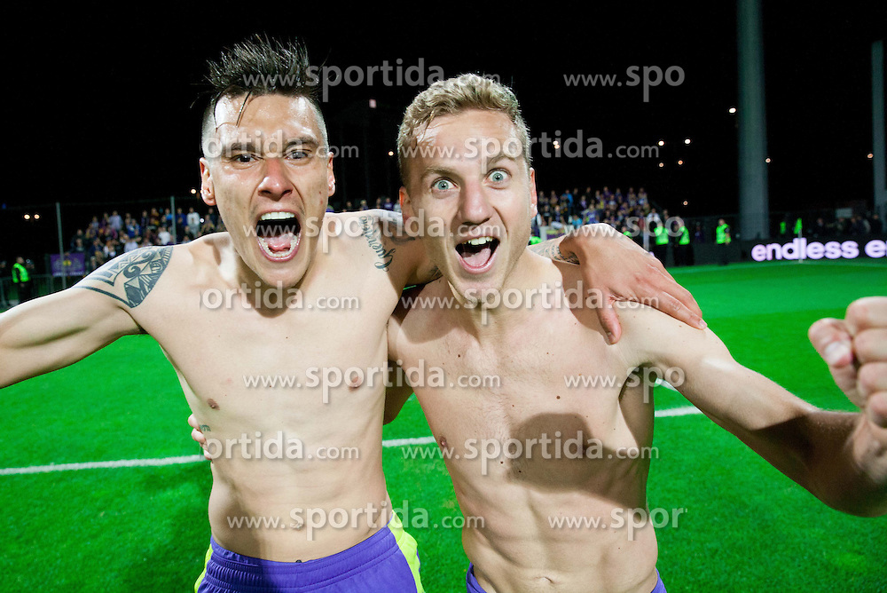 Soares Bordignon Arghus #44 of Maribor and Ales Mertelj #70 of Maribor celebrate after winning the football match between NK Maribor and NK Celje in final of Slovenian Cup 2013 on May 29, 2013 in Stadium Bonifika, Koper, Slovenia. Maribor defeated Celje 1-0 and became Slovenian Cup Champion 2013. (Photo By Vid Ponikvar / Sportida)
