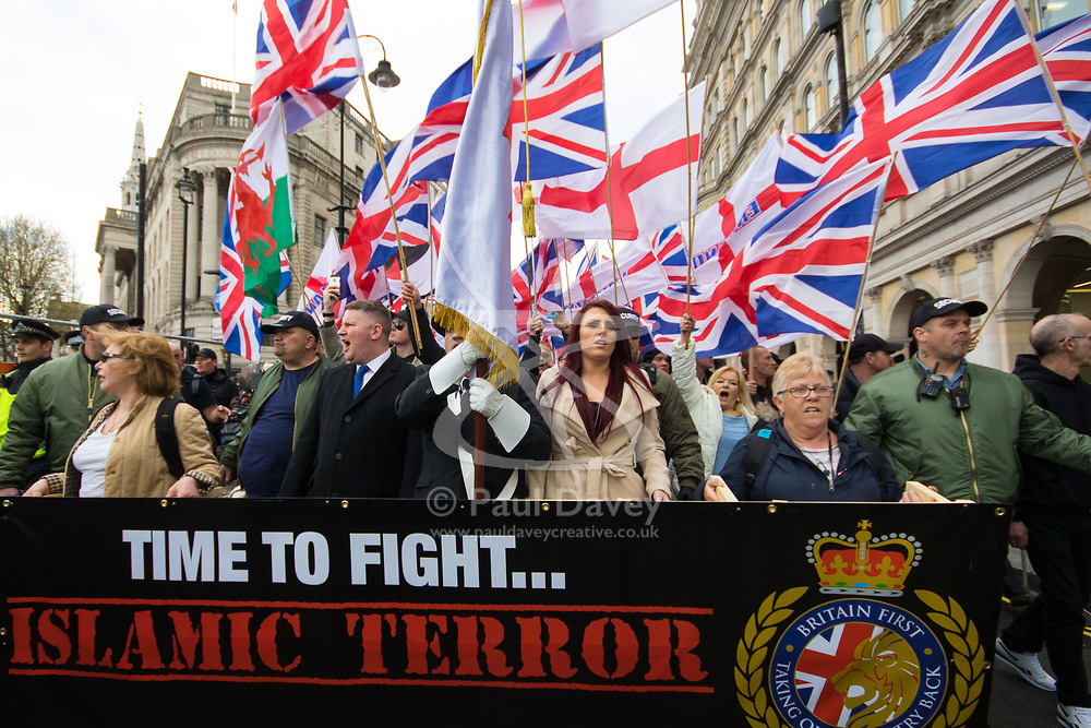 London, April 1st 2017. Britain First marches past Trafalgar Square led by Paul Golding and Jayda Fransen as their nationalist and anti-Islamic group demonstrates in London following the Westminster terror attack of March 22nd.