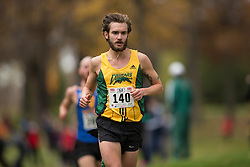 Matthew Johnson of the Regina Cougars runs in the men's  10K Run at the 2013 CIS Cross Country Championships in London Ontario, Saturday,  November 9, 2013.<br /> Mundo Sport Images/ Geoff Robins