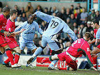 Photo: Paul Thomas. Coventry City v Cardiff City, Highfield Road, Coventry,  Coca Cola Chamionship. 12/03/2005. Trevor Benjamin shot is blocked, but finally put in by Stern John.