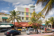 Waldorf Towers Hotel and other art deco architecture on Ocean Drive, South Beach, Miami, Florida, USA