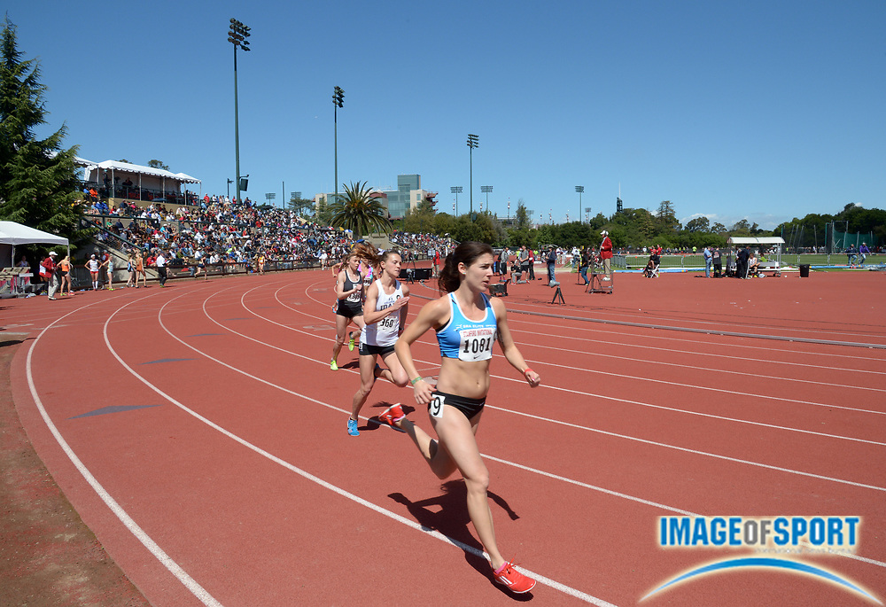 Apr 5, 2014; Stanford, CA, USA; General view of the womens 800m in the 2014 Stanford Invitational at Cobb Track & Angell  Field.