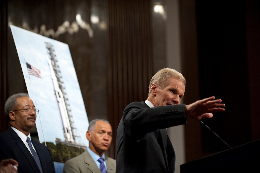 Senator BILL NELSON (D-FL) during a news conference on Capitol Hill Wedneday to discuss a new Space Launch System that will take astronauts farther into space than before. NASA says the system will create high-quality jobs and provide the cornerstone for America's future human space exploration efforts.