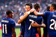 04-10-2015 VOETBAL: AJAX-PSV:AMSTERDAM<br /> Hector Moreno viert het tweede doelpunt van Gaston Pereiro van PSV <br /> Foto: Geert van Erven