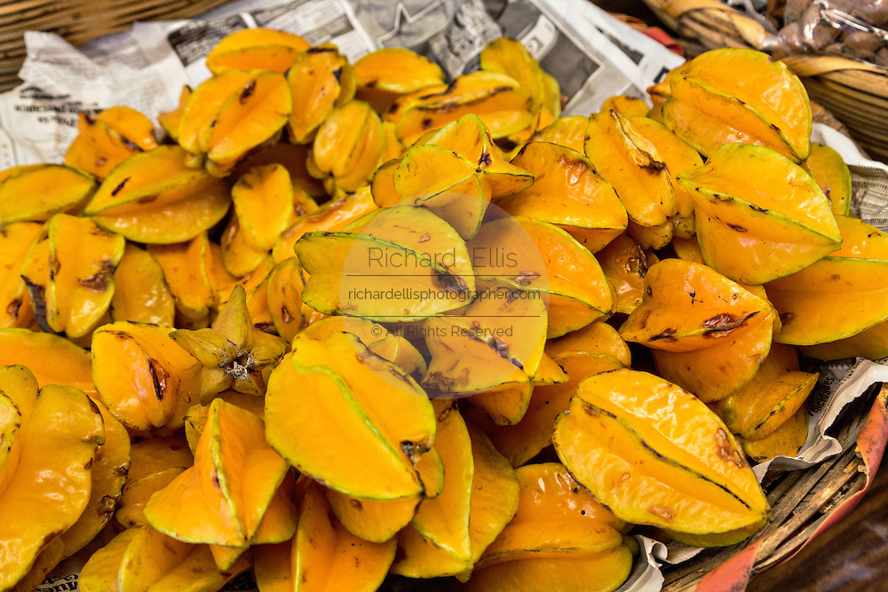 Carambola or star fruit at Benito Juarez market in Oaxaca, Mexico.
