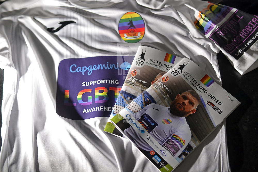"""TELFORD COPYRIGHT MIKE SHERIDAN AFC Telford United kits and programme in the dressing room prior to the Vanarama National League Conference North fixture between AFC Telford United and Spennymoor Town on Saturday, November 16, 2019.<br /> <br /> AFC Telford United hosted a """"football vs homophobia"""" event, which saw the club wear specially designed kit with rainbow insignia, for the game.<br /> <br /> Picture credit: Mike Sheridan/Ultrapress<br /> <br /> MS201920-030"""