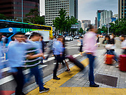 08 JUNE 2018 - SEOUL, SOUTH KOREA:  A slow shutter motion blur photo of pedestrians cross Sejong-Daero in Seoul.      PHOTO BY JACK KURTZ