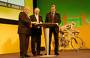 Jean Marie Leblanc, Ken Livingstone and Christian Prudhomme sign the agreement to bring the 2007 Prologue and Stage 1 to London at the Queen Elizabeth 2 Conference Centre on Thursday 9th February 2006.