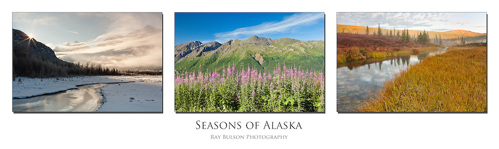 Triptych of Eagle River Valley in winter and summer and Denali National Park in fall in Alaska.