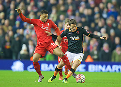 LIVERPOOL, ENGLAND - Wednesday, January 20, 2016: Liverpool's Jordon Ibe in action against Exeter City's Craig Woodman during the FA Cup 3rd Round Replay match at Anfield. (Pic by David Rawcliffe/Propaganda)