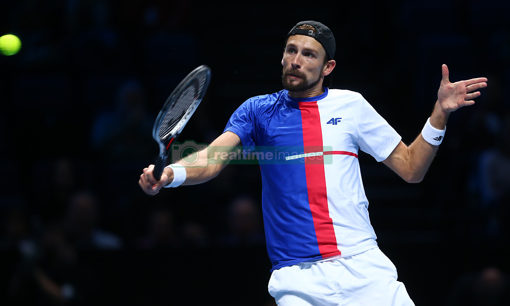 November 17, 2017 - London, England, United Kingdom - Lukaez Kubut (POL) in action..during Day six of the Nitto ATP World Tour  Finals played at The O2 Arena, London on November 17 2017  (Credit Image: © Kieran Galvin/NurPhoto via ZUMA Press)