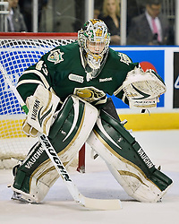 Game 5 of the Rogers Western Conference Championship between the London Knights and the Plymouth Whalers. Max Domi of the Knights scored 20 seconds into the first overtime period to win the Wayne Gretzky trophy 4 games to 1.<br /> <br /> Photo by Terry Wilson / OHL Images.