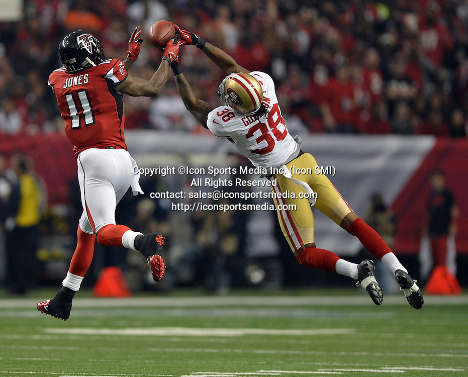 Jan. 20, 2013 - Atlanta, GA, USA - Atlanta Falcons wide receiver Julio Jones comes up with a pass through the fingertips of San Francisco 49ers free safety Dashon Goldson during the first quarter of the NFC Championship game at the Georgia Dome on Sunday, January 20, 2013, in Atlanta, Georgia. The San Francisco 49ers defeated the Atlanta Falcons, 28-24