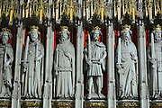 Statues are standing inside York Minster, Yorkshire, England, United Kingdom.