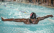 Waltham High School sophomore Bernard Ssentojo competes in the 200 yard IM during the DCL meet at Atkinson Pool in Sudbury, Jan. 31, 2015.   (Wicked Local Photo/James Jesson)