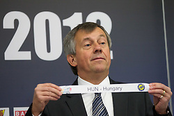 Michael Wiederer, EHF Secretary General with team Hungary during the draw for the 2013 Men's World Championship in Spain (11 to 27 January 2013) at 10th EHF European Handball Championship Serbia 2012, on January 29, 2012 in Beogradska Arena, Belgrade, Serbia.  (Photo By Vid Ponikvar / Sportida.com)