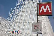Expo Gate at Castello square, Milan, June, 2014. In the foreground the undergroud signal. &copy; Carlo Cerchioli<br /> <br /> Expo Gate in piazza Castello a Milano, giugno 2014. In primo piano il segnale della Metropolitana
