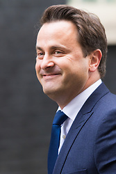Downing Street, London, October 27th 2015. British Prime Minister David Cameron welcomes the Prime Minister of Luxembourg Xavier Bettel to his official residence at 10 Downing Street.
