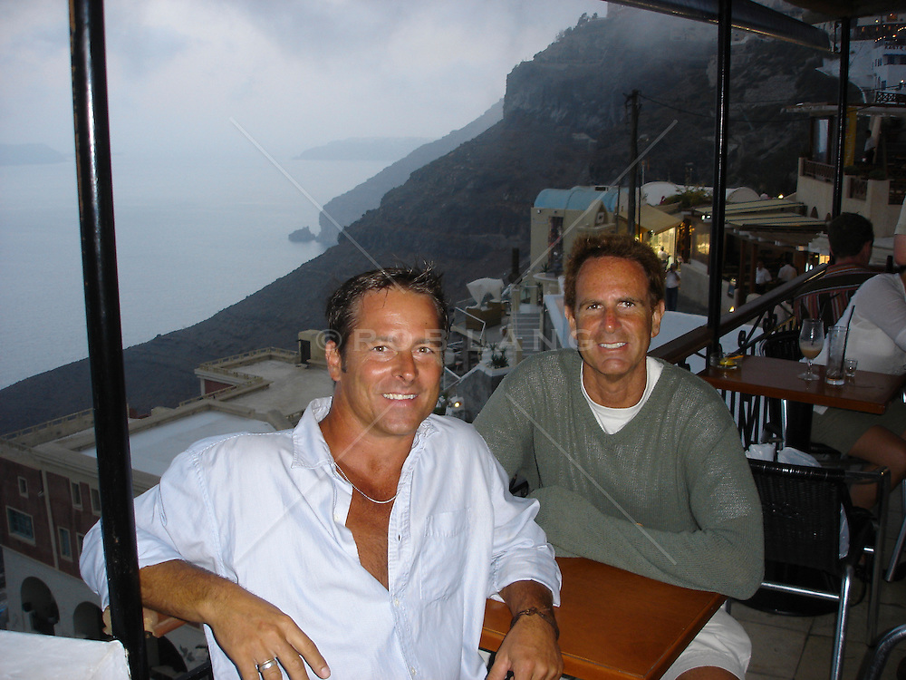 two handsome men together on vacation