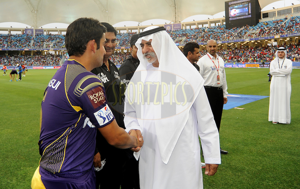 His Excellency Sheikh Nahayan Mubarak shakes hand with Gautam Gambhir captain of the Kolkata Knight Riders during match 6 of the Pepsi Indian Premier League Season 7 between the Kolkata Knight Riders and the Delhi Daredevils held at the Dubai International Cricket Stadium, Dubai, United Arab Emirates on the 19th April 2014<br /> <br /> Photo by Pal Pillai / IPL / SPORTZPICS