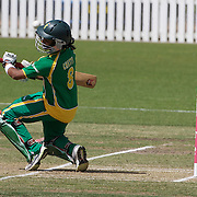 Trisha Chetty just avoids a delivery during the South Africa  V New Zealand group A match at Bradman Oval in the ICC Women's World Cup Cricket Tournament, in Bowral, Australia on March 12, 2009. New Zealand won by 199 runs. Photo Tim Clayton