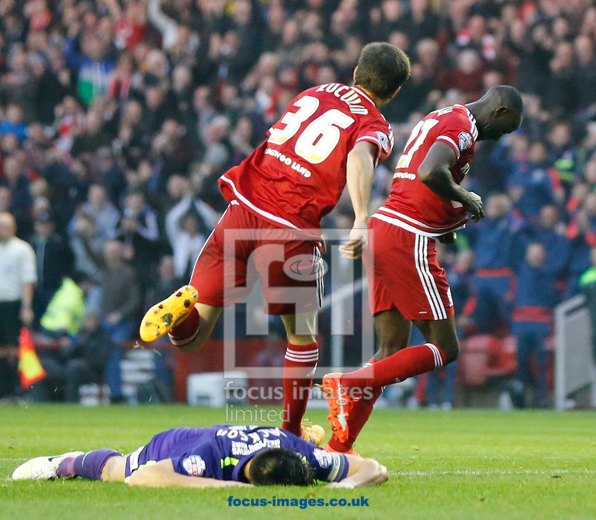 Albert Adomah (r) of Middlesbrough celebrates scoring to make it 2-0 during the Sky Bet Championship match at the Riverside Stadium, Middlesbrough<br /> Picture by Simon Moore/Focus Images Ltd 07807 671782<br /> 31/10/2015
