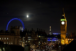 © Licensed to London News Pictures. 29/11/2012. London, UK. Big Ben, the London Eye and the Shard are seen this evening (29/11/12) in London. Photo credit: Matt Cetti-Roberts/LNP