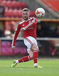 Swindon Town's Anton Rodgers in action during the Sky Bet League One match between Swindon Town and Peterborough United at The County Ground on 11 April 2015 in Swindon, England - Photo mandatory by-line: Paul Knight/JMP - Mobile: 07966 386802 - 11/04/2015 - SPORT - Football - Swindon - The County Ground - Swindon Town v Peterborough United - Sky Bet League One