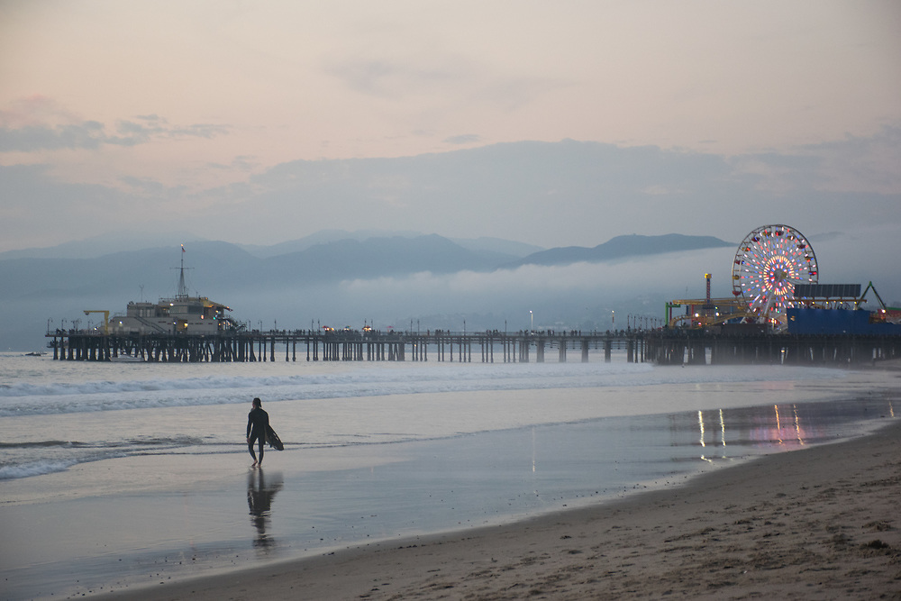 Surfer at the Santa Monica Pier, 1.9.15. Santa Monica, CA.