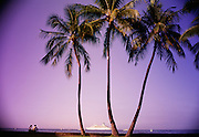 Sunset with cruise ship, Kailua Kona, Island of Hawaii