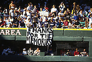 """CHICAGO, IL-SEPTEMBER 30, 1990:  """"Old"""" Comiskey Park, home of the Chicago White Sox from 1910 thru 1990.  It was demolished in 1991.  Fans salute the final game played at Old Comiskey Park on September 30, 1990.  (Photo by Ron Vesely)"""
