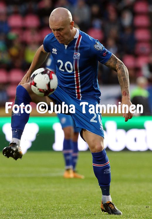 2.9.2017, Ratina Stadion, Tampere, Finland.<br /> FIFA World Cup 2018 Qualifying match, Finland v Iceland.<br /> Emil Hallfredsson - Iceland
