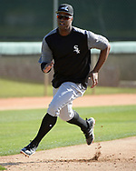 GLENDALE, ARIZONA - FEBRUARY 20:  Eloy Jimenez #74 of the Chicago White Sox runs the bases during a spring training workout February 20, 2018 at Camelback Ranch in Glendale Arizona.  (Photo by Ron Vesely)  Subject:   Eloy Jimenez